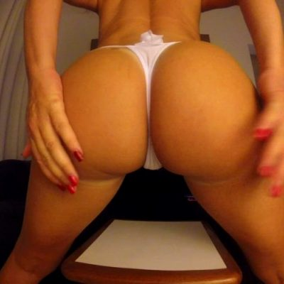 White Big Ass In A White Little Thong